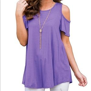 Lavender Cold Shoulder Top